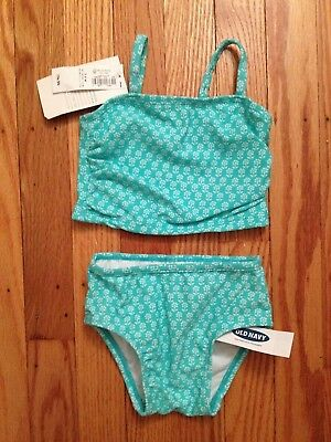 NWT Girl's Old Navy Green Floral 2-Piece Tankini Swimsuit-Sizes 3-6, 6-12 Months