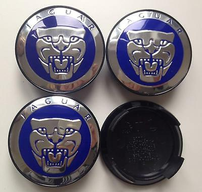 JAGUAR Blue 59MM NEW  ALLOY WHEEL CENTRE/HUB CAPS XJS XJ40 XJR S X TYPE XK XKR