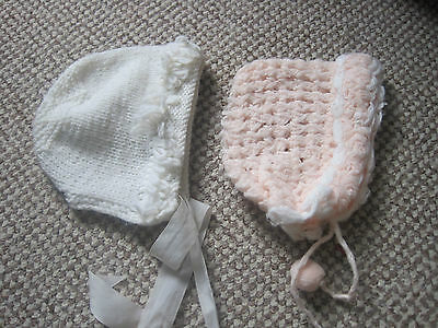 Baby Hats One White One Home Knit Pink & White With Pom Poms From Newborn