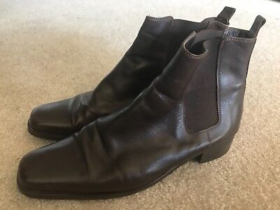 Joanne Mercer Brown Leather Ankle Boots Size 39 (9)
