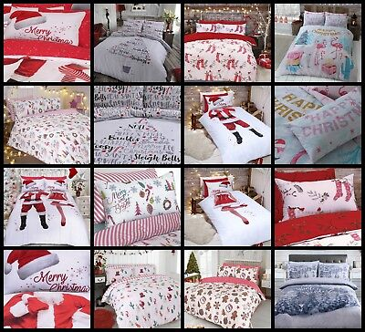 New Father Christmas Xmas Festive Duvet Cover & Pillow Cases Single Double King