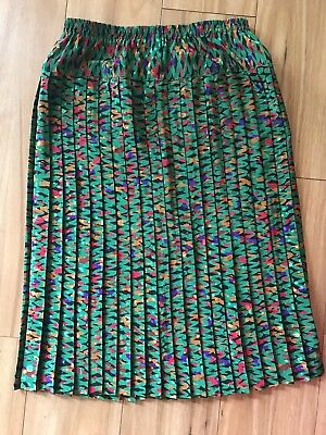 DISCOVERY CLOTHING Sz 14 VINTAGE Midi Pleated Green Skirt Stretch Waist 1980's