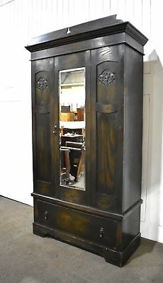 Victorian Antique carved oak mirror large  door wardrobe dark jacobean