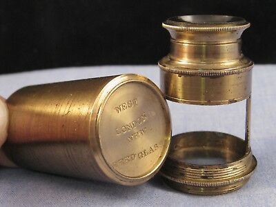 Antique Brass Raspail Insectoscope Insect Microscope Magnifying Seed Glass West
