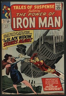 TALES OF SUSPENSE #53 2nd EVER BLACK WIDOW! CRAZY COVER! SUPER GLOSSY VF CENTS