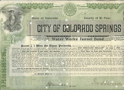 1903 City Colorado Springs Water Works Tunnel Bond
