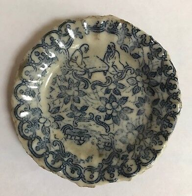 Antique Chinese blue and white dish, dig find