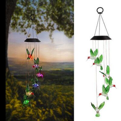 Solar Color Changing LED Bird Wind Chimes Home Garden Yard Decor Light Lamp