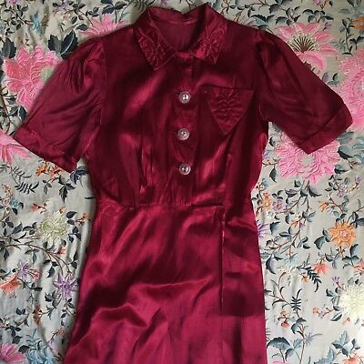 1930s 40s Raspberry Red Satin Wrap Dress Glass Nipple Button Chest Pocket Floral