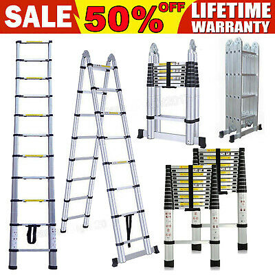 Aluminium Folding Telescopic Ladder Step Ladder Multi-Purpose Extendable EN131