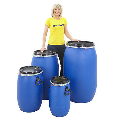 Open Top Plastic Storage Drum With Removable Lid 30 60 120 220 Litre Barrel