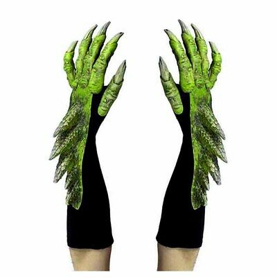 Green Dragon Alien Reptile Claws Hands Cosplay Adult Halloween Costume Gloves
