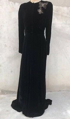 Vintage 1940s Long Sleeve Velvet Dress Zip Up Beaded Butterflies Sequin Maxi 30s