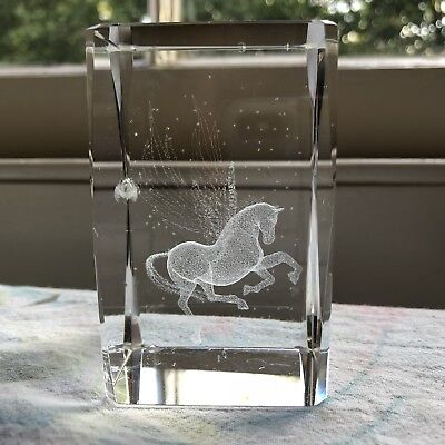 Absolutely Delightful Laser 3D Etched Unicorn Pegasus Crystal Ornament Gift
