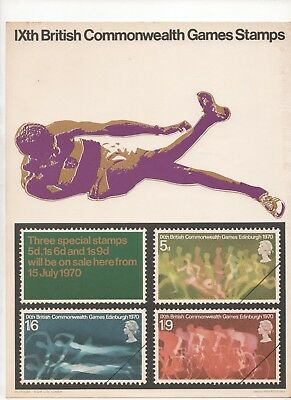 1970 Post Office A4 Poster Grille Card - Commonwealth Games