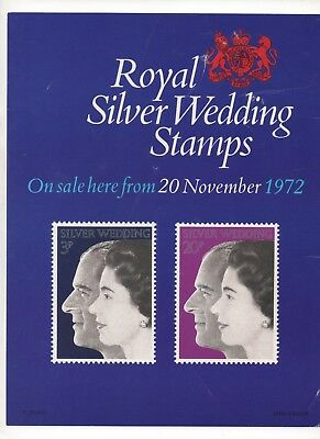 1972 Post Office A4 Poster Grille Card - Royal Silver Wedding