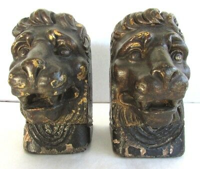 Pair of Antique Carved Wood Lion's Heads - Once Gilt Architectural Feature