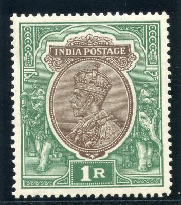 India 1926 KGV 1r chocolate & green (white gum) superb MNH. SG 214. Sc 120.