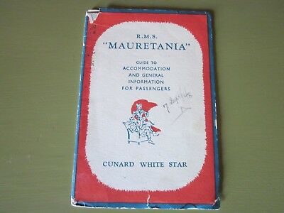 RMS Mauretainia Ship's Guide in Good Condition