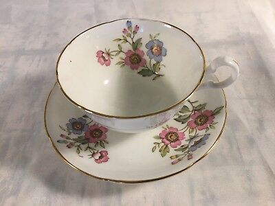 Royal Grafton Bone China Tea Cup And Saucer With Pink & Blue Floral Pattern