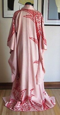Dreamy Furisode All Shibori Floral Leaf Fabric 100% Silk Kimono Robe Japan 3013