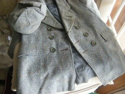 1950 LITTLE BOYS TWEED COAT & HAT/blue and grey