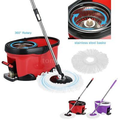 Hands-Free Stainless Steel 360°Spin Mop & Bucket Set Foot Pedal Rotating T4P2