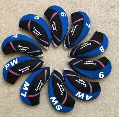 10PCS Black&Blue Neoprene Taylormade M4 Golf Club Iron Covers HeadCovers