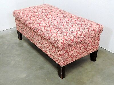 Antique 19th C. Stained Pine Upholstered Ottoman/ Blanket Box/ Bench  (135)