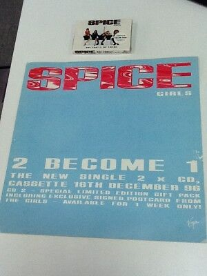 Spice Girls ‎– 2 Become 1 Promo Card + Say You'll Be There US Cassette, Single