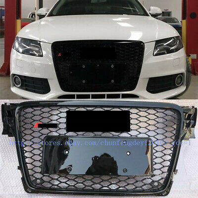 RS Style Honeycomb Type Mesh Black Front Grill 1pcs For Audi A4 S4 B8 2009-2012