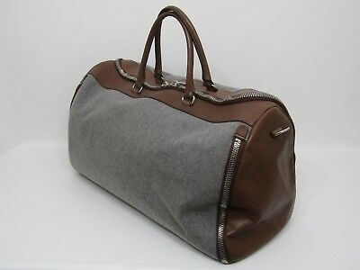 Brunello Cucinelli Leather and Fabric Garment Duffle Bag in Excellent Condition