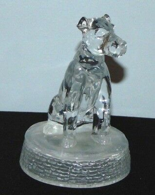 Vintage Clear Glass Sitting Dog On Round Frosted Glass Base Terrier Dog