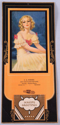 1937 Bradshaw Crandell Welding Advertising Pin-up Calendar Romance Wispy Blonde