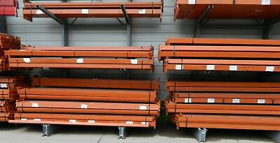 "400 used 132"" long x 4"" tall slotted orange step beam 3500lb capacity"