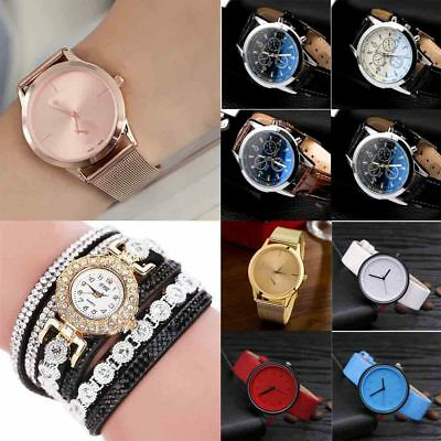 Lot Student Men Women Analog Quartz Watches Leather Band Wrist Watch Vogue Gift