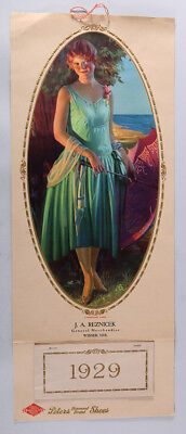 1929 Gene Pressler Pin-Up Calendar A Winsome Lass Peters Shoes Advertising Large