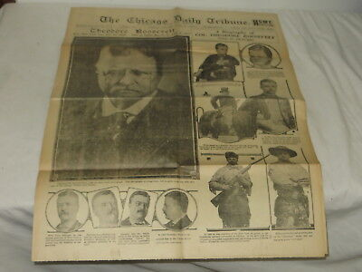 Vintage Chicago Daily Tribune Tuesday January 7, 1919 Theodore Roosevelt Death