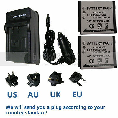 NP-50 Battery/charger for Fujifilm FinePix XF1 F70EXR F80EXR XP200 Real 3D W3