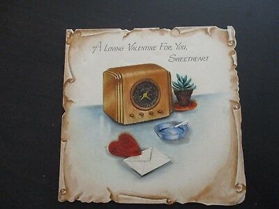 Old Time Radio Lit Cigarette Ashtray Plant Heart Vintage Hallmark Valentine Card
