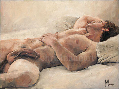 Mann Art NUDE MALE IN BED Original Oil Painting Gay Interest