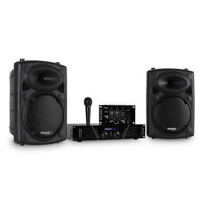Dj Pa Studio Sound Party Set 2X Subwoofer Lautsprecher Verstärker Mixer Mikrofon