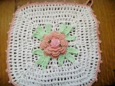Crocheted Collectable Pot Holder Shabby Pink Rose 1950's pattern Shabby chic