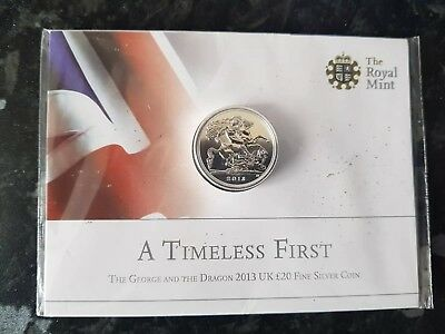 2013 UK Silver £20 Coin The George and the Dragon Royal Mint Pack Sealed