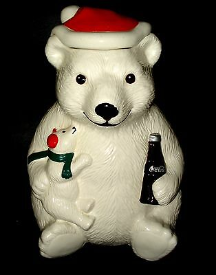 VTG Coca Cola CERAMIC XMAS COOKIE JAR POLAR BEAR w/ CUB Santa Hat & Coke Bottle