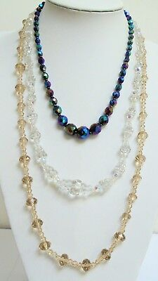 Three good quality vintage a.b crystal bead necklaces