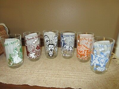 Vtg Set Of 6 Big Top Peanut Butter Glasses/tumblers 10 Oz. Featuring Songs/music