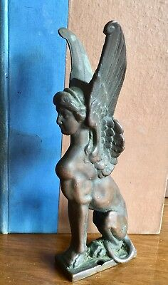 Antique Architectural Salvage Cast French Bronze Winged Lady Griffin