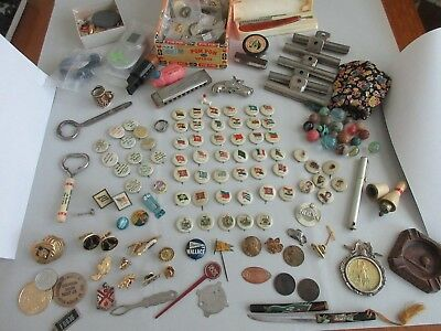 antique,vintage,JUNK DRAWER,LOT OF STUFF,pinbacks,political,ACTRESS,FLAGS,HUMOR