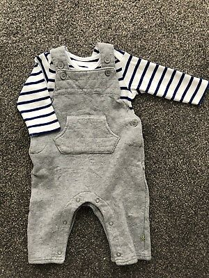 M&S Marks and Spencer Baby Dungarees & Long Sleeve Vest 3-6 Months